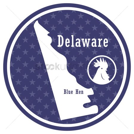 Delaware : Delaware state map with blue hen
