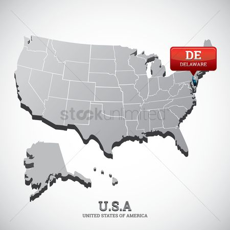 Delaware : Delaware state on the map of usa