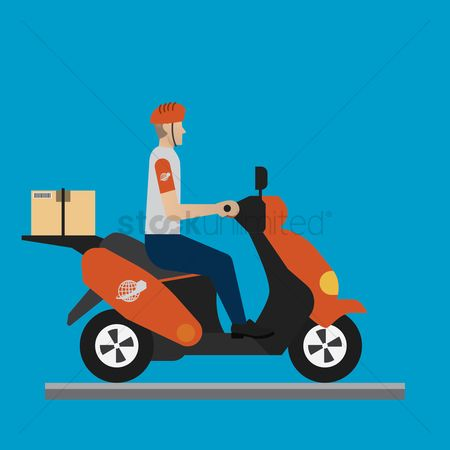 Scooters : Delivery man on a bike