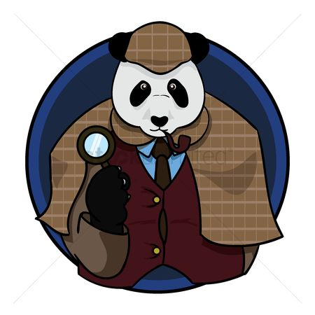 Smoking pipe : Detective panda bear