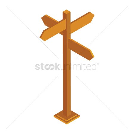 Wooden sign : Directional board