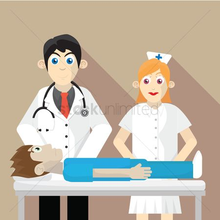Laying : Doctor  nurse and patient
