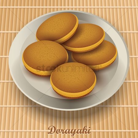Japanese cuisines : Dorayaki in plate