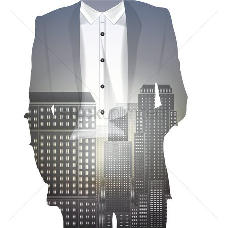 Double exposure : Double exposure of a man and building