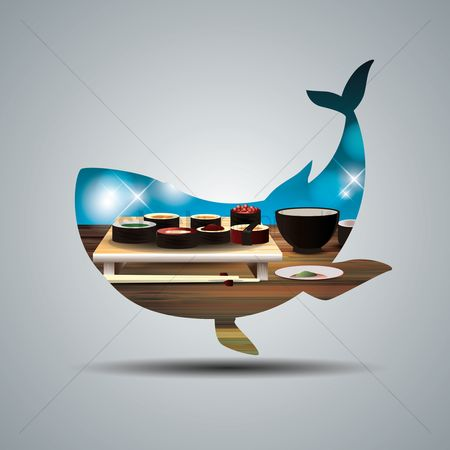 Plates : Double exposure of a whale and japanese food