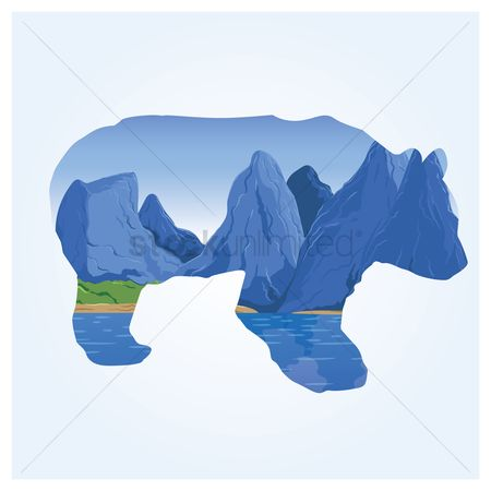 Double exposure : Double exposure of bear and mountains
