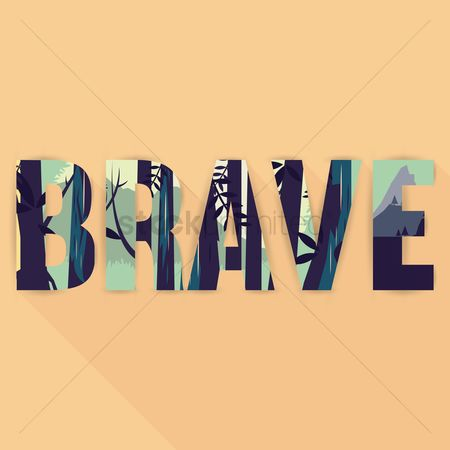 Double : Double exposure of brave wallpaper with text