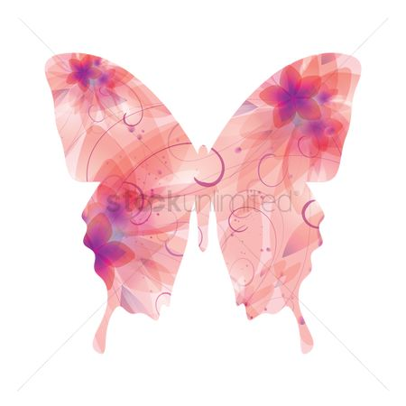Double exposure : Double exposure of butterfly and flowers