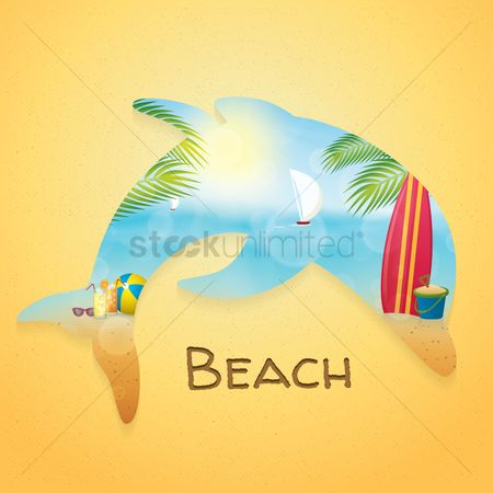 Beaches : Double exposure of dolphin and beach
