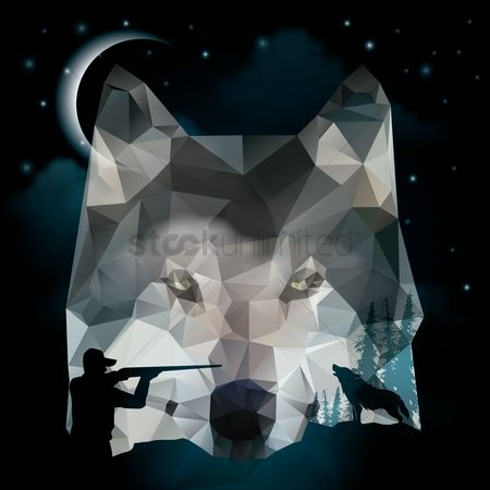 Head : Double exposure of fox and hunter