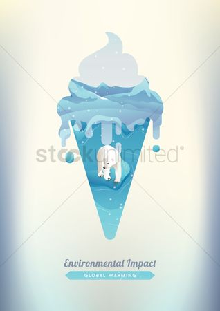 Dripping : Double exposure of ice cream and polar bear