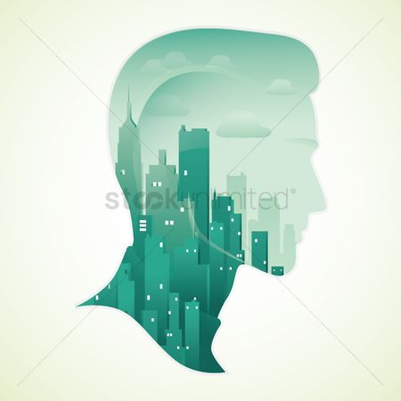 Head : Double exposure of man and city