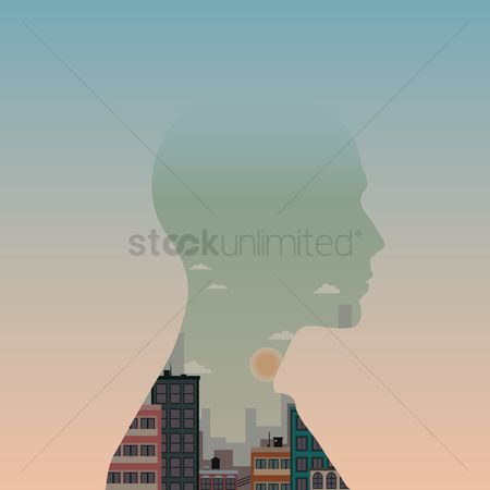 Humans : Double exposure of man and cityscape