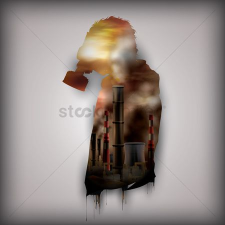 Chimneys : Double exposure of man and factory