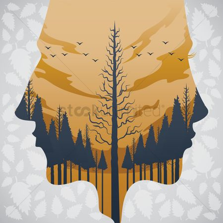 Combine : Double exposure of man and forest