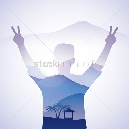 Mountains : Double exposure of man and nature landscape