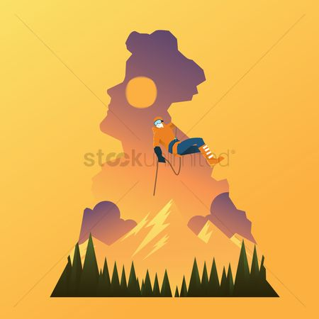 Brave : Double exposure of man and rock climbing