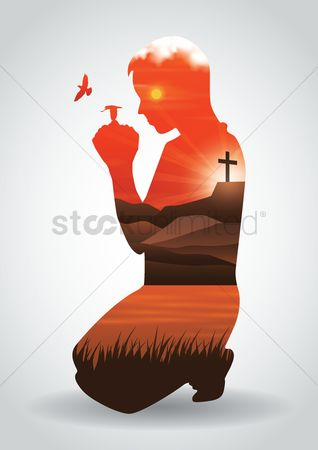 Christian : Double exposure of man praying