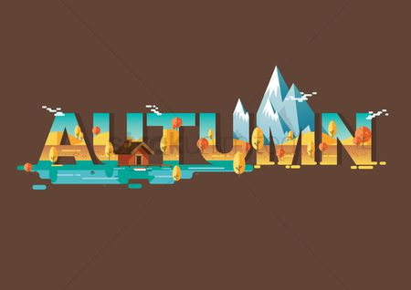 Fonts : Double exposure of nature and autumn text