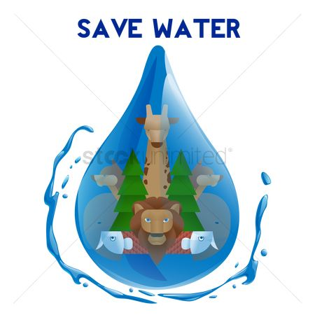 Save trees : Double exposure of save water concept