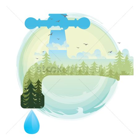 Clean : Double exposure of save water concept