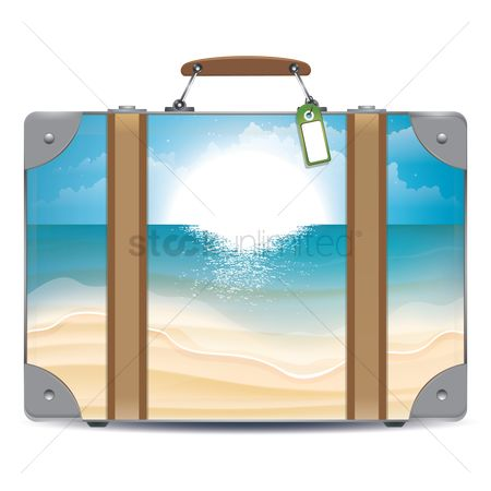Double exposure : Double exposure of suitcase and beach
