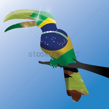 Toco toucan : Double exposure of toco toucan with brazil flag