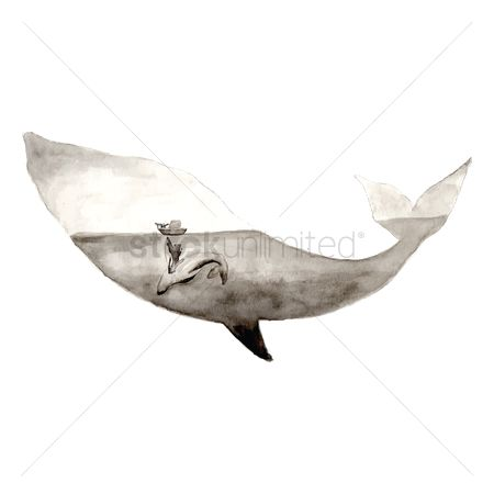 Marine life : Double exposure of whale and sea