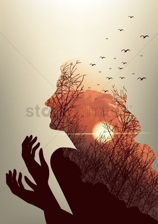 Birds : Double exposure of woman and sunset