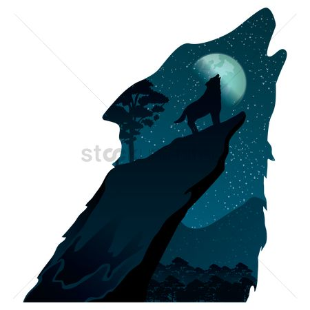 Mountains : Double exposure wolf