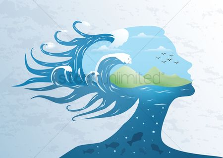 Marine life : Double exposure woman and ocean