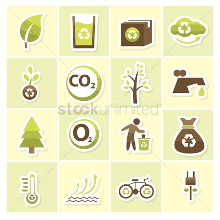 Temperatures : Eco friendly icons
