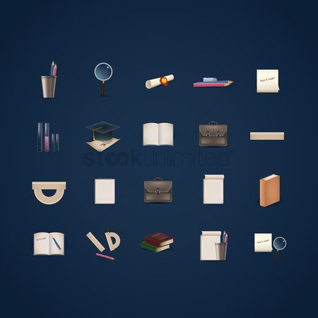 Magnifying : Education icons set