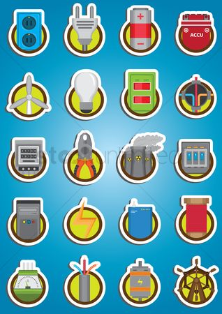 High voltage : Electrical icon set