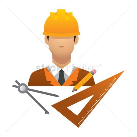 Hard hat : Engineer with stationery tools