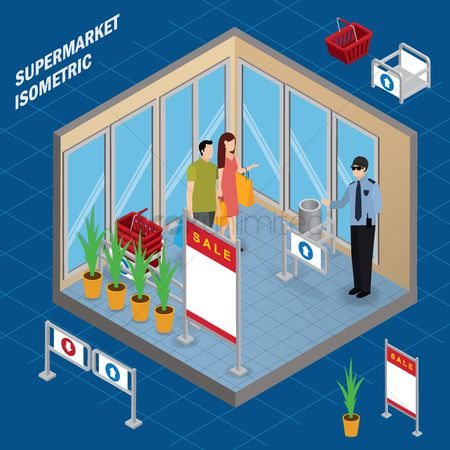 Store : Entrance supermarket isometric