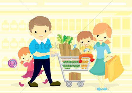 Kids : Family in supermarket