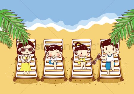 Kids : Family relaxing on beach