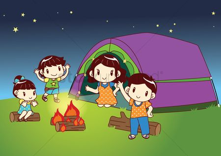 Tents : Family sitting near bonfire
