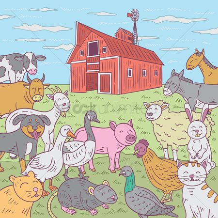 Grass background : Farm animals with barn in background