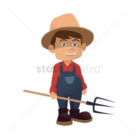 Straw : Farmer with pitch fork