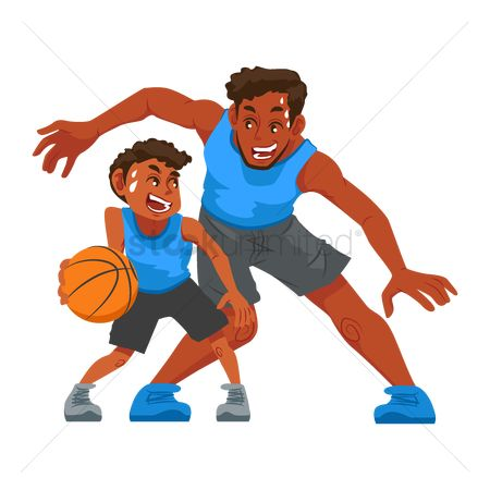 Play kids : Father playing basketball with son