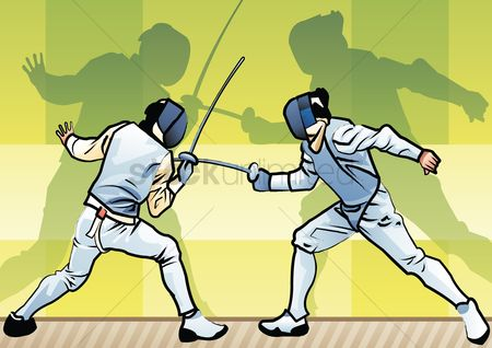 Athletes : Fencers in action