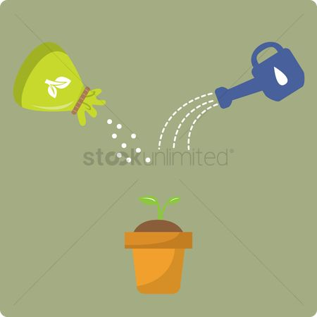 Fertilizer : Fertilizer and watering can with plant in a pot