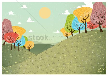 Open : Field with colorful trees