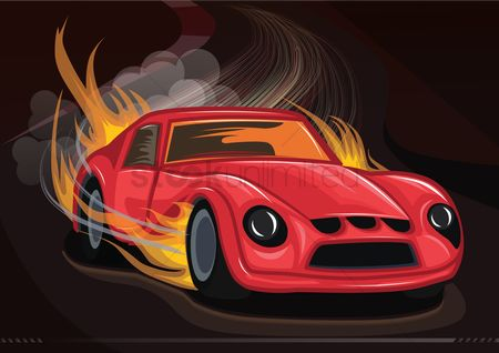 Wheel : Fiery race car