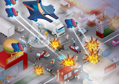 Lorries : Fighter planes attacking the city