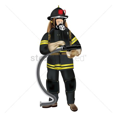 Fire extinguisher : Firefighter holding pipe