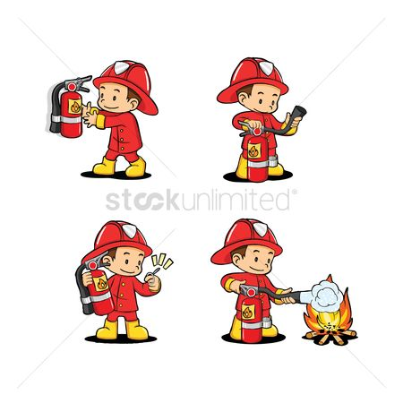 Fire : Fireman with extinguisher usage