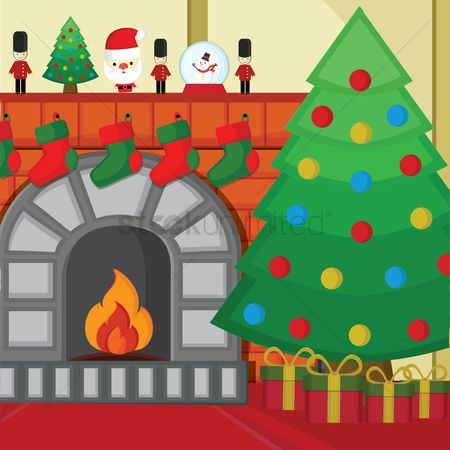 Logs : Fireplace with christmas tree